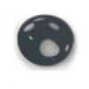 Glass Bead Flat 15/14mm Jet Wavy Oval - Strung